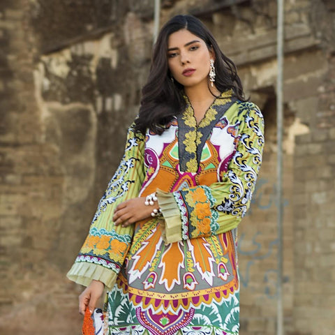 Maheen Karim Luxury Embroidered Summer Lawn Un-Stitched Suit - Pistachio Orient - test-store-for-chase-value