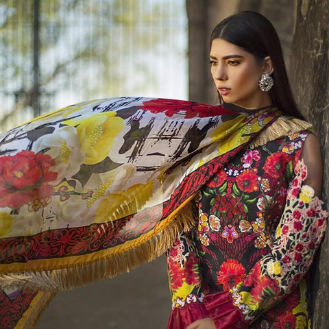 Maheen Karim Luxury Embroidered Summer Lawn Un-Stitched Suit - Ruby Woo - test-store-for-chase-value