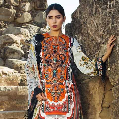Maheen Karim Luxury Embroidered Summer Lawn Un-Stitched Suit - Rustic Beam - test-store-for-chase-value