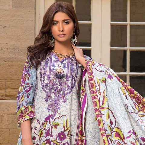 Amna Embroidered Lawn Collection 3 Piece Un-Stitched Suit - DA 101 B - test-store-for-chase-value