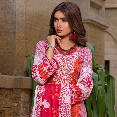Amna Embroidered Lawn Collection 3 Piece Un-Stitched Suit - EKR 118 A - test-store-for-chase-value