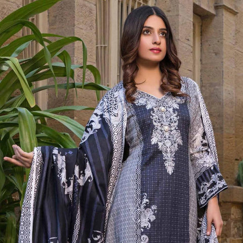 Amna Embroidered Lawn Collection 3 Piece Un-Stitched Suit - EKR 118 B - test-store-for-chase-value