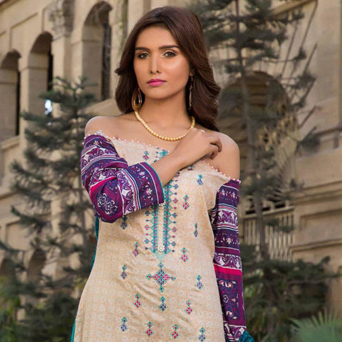 Amna Embroidered Lawn Collection 3 Piece Un-Stitched Suit - EKR 119 B - test-store-for-chase-value