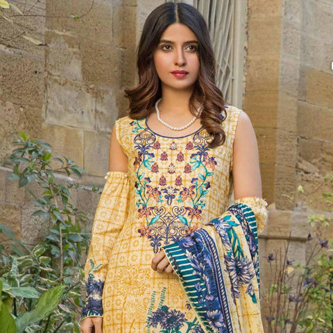 Amna Embroidered Lawn Collection 3 Piece Un-Stitched Suit - EKR 120 A - test-store-for-chase-value