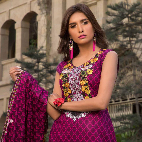 Amna Embroidered Lawn Collection 3 Piece Un-Stitched Suit - EKR 121 A - test-store-for-chase-value