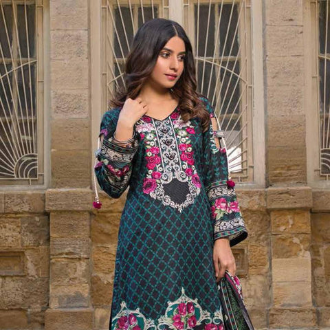 Amna Embroidered Lawn Collection 3 Piece Un-Stitched Suit - EKR 121 B - test-store-for-chase-value