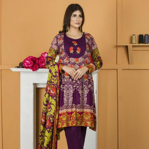 Libas Embroidered Lawn 3 Piece Un-Stitched Suit Vol 02 - 1 A - test-store-for-chase-value
