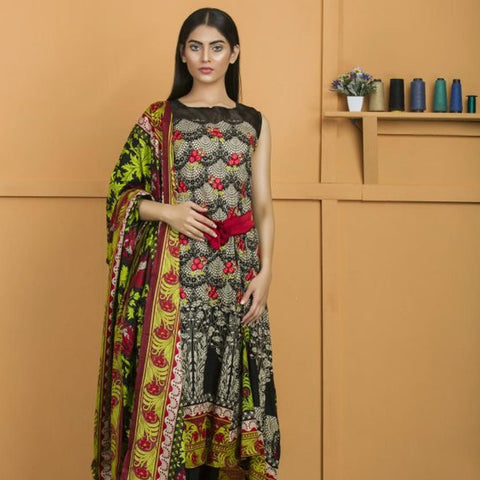 Libas Embroidered Lawn 3 Piece Un-Stitched Suit Vol 02 - 1 B - test-store-for-chase-value