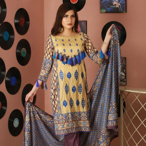Libas Embroidered Lawn 3 Piece Un-Stitched Suit Vol 02 - 2 A - test-store-for-chase-value