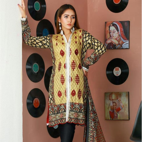 Libas Embroidered Lawn 3 Piece Un-Stitched Suit Vol 02 - 2 B - test-store-for-chase-value