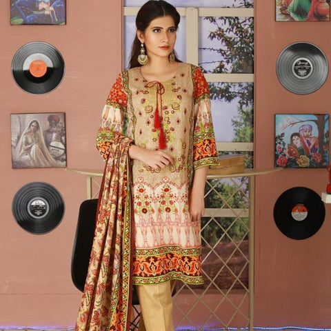 Libas Embroidered Lawn 3 Piece Un-Stitched Suit Vol 02 - 3 A - test-store-for-chase-value