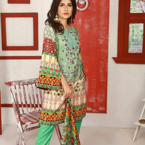 Libas Embroidered Lawn 3 Piece Un-Stitched Suit Vol 02 - 3 B - test-store-for-chase-value