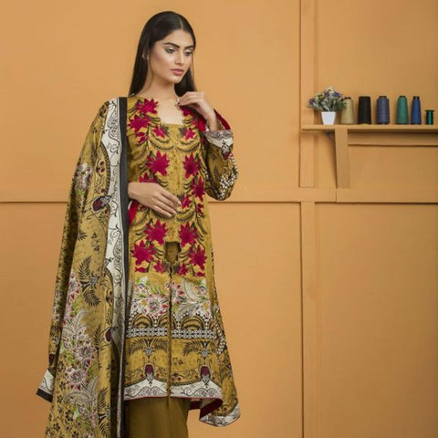 Libas Embroidered Lawn 3 Piece Un-Stitched Suit Vol 02 - 4 A - test-store-for-chase-value