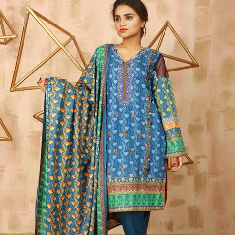 Libas Embroidered Lawn 3 Piece Un-Stitched Suit Vol 02 - 5 B - test-store-for-chase-value