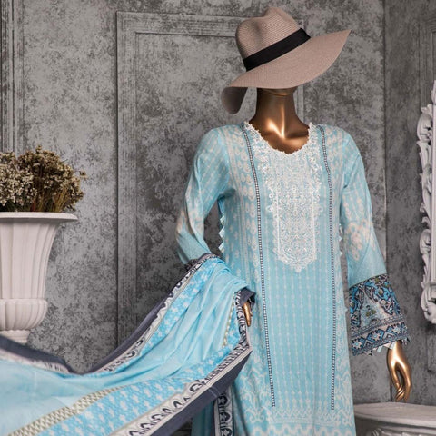 Diamond Embroidered Lawn 3 Piece Un-Stitched Suit DEL-01-Light Ferozi - test-store-for-chase-value
