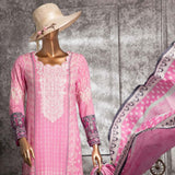 Diamond Embroidered Lawn 3 Piece Un-Stitched Suit DEL-01-Pink - test-store-for-chase-value