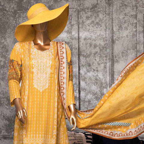 Diamond Embroidered Lawn 3 Piece Un-Stitched Suit DEL-01-Mango Mustard - test-store-for-chase-value