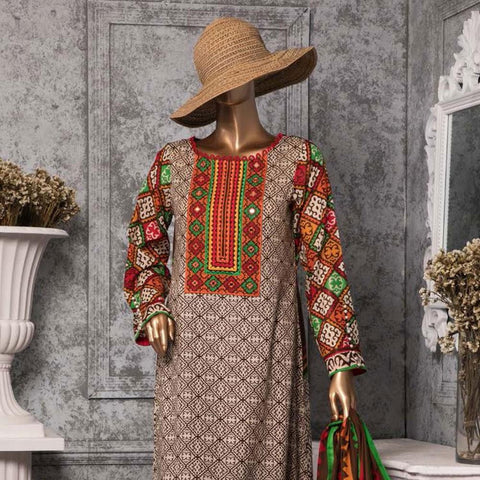 Diamond Embroidered Lawn 3 Piece Un-Stitched Suit DEL-02-Brown - test-store-for-chase-value