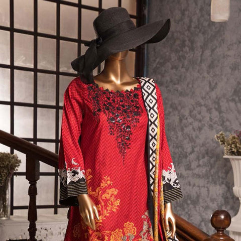 Diamond Embroidered Lawn 3 Piece Un-Stitched Suit DEL-03-Red - test-store-for-chase-value