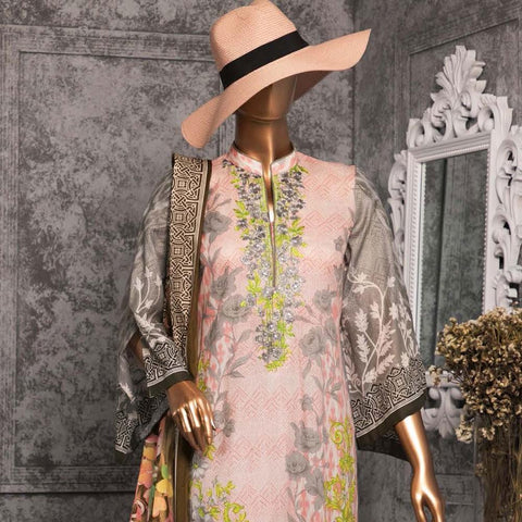 Diamond Embroidered Lawn 3 Piece Un-Stitched Suit DEL-04-Grey & Pink - test-store-for-chase-value