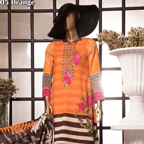 Diamond Embroidered Lawn 3 Piece Un-Stitched Suit DEL-05-Orange - test-store-for-chase-value