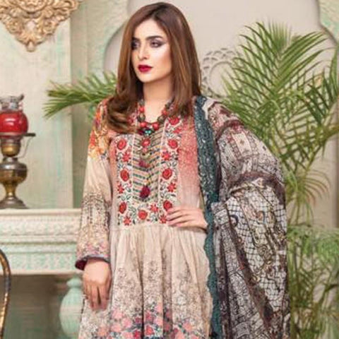Digital Print Glorious Embroidered Lawn 3 Piece Un-Stitched Suit - 01 - test-store-for-chase-value