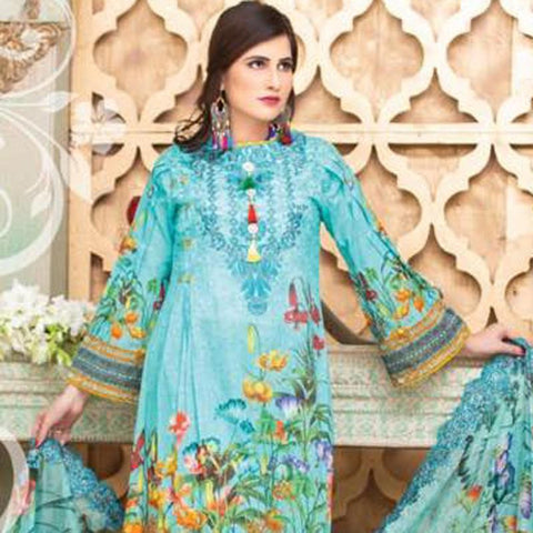 Digital Print Glorious Embroidered Lawn 3 Piece Un-Stitched Suit - 02 - test-store-for-chase-value