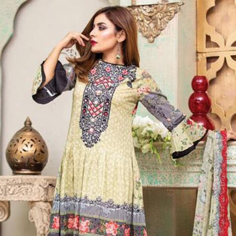 Digital Print Glorious Embroidered Lawn 3 Piece Un-Stitched Suit - 03 - test-store-for-chase-value