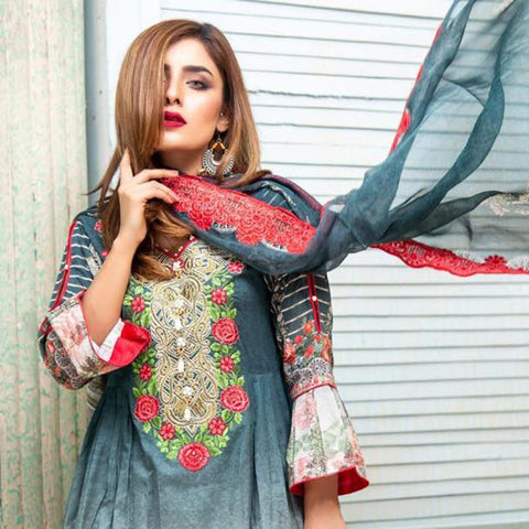 Digital Print Glorious Embroidered Lawn 3 Piece Un-Stitched Suit - 05 - test-store-for-chase-value