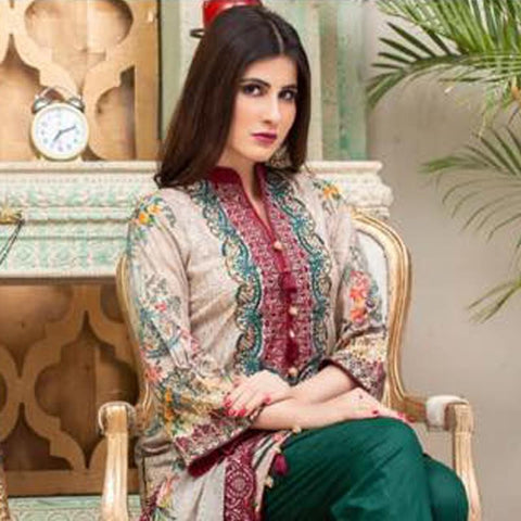 Digital Print Glorious Embroidered Lawn 3 Piece Un-Stitched Suit - 06 - test-store-for-chase-value
