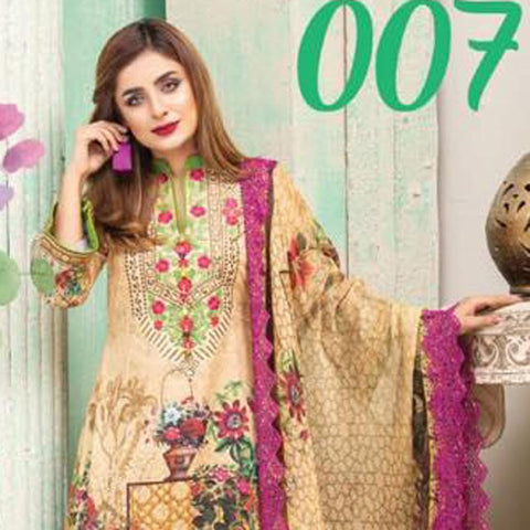 Digital Print Glorious Embroidered Lawn 3 Piece Un-Stitched Suit - 07 - test-store-for-chase-value