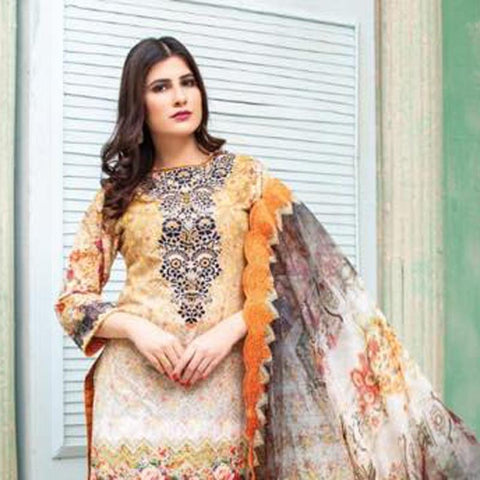 Digital Print Glorious Embroidered Lawn 3 Piece Un-Stitched Suit - 08 - test-store-for-chase-value
