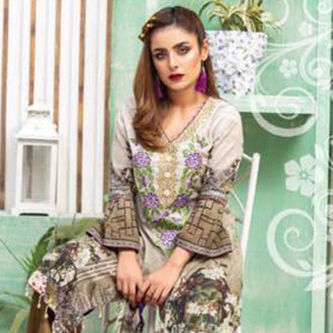 Digital Print Glorious Embroidered Lawn 3 Piece Un-Stitched Suit - 09 - test-store-for-chase-value