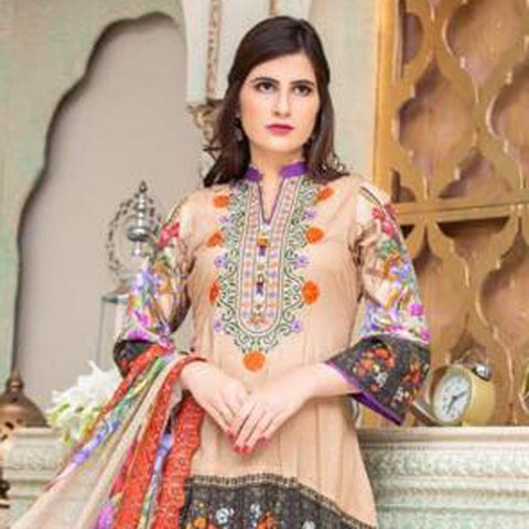 Digital Print Glorious Embroidered Lawn 3 Piece Un-Stitched Suit - 10 - test-store-for-chase-value