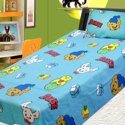 Cartoon Character Printed Single Bed Sheet - Multi - test-store-for-chase-value