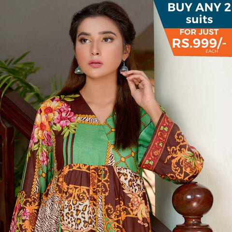 Three Star Printed Lawn 3 Piece Un-Stitched Suit Vol 1 - 1 A