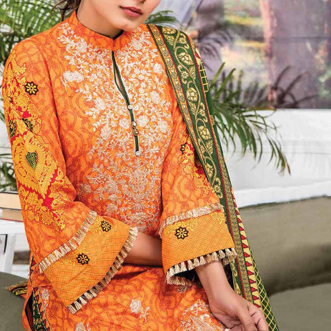 Ayesha Alishba Embroidered Linen 3 Piece Un-Stitched Suit - 012