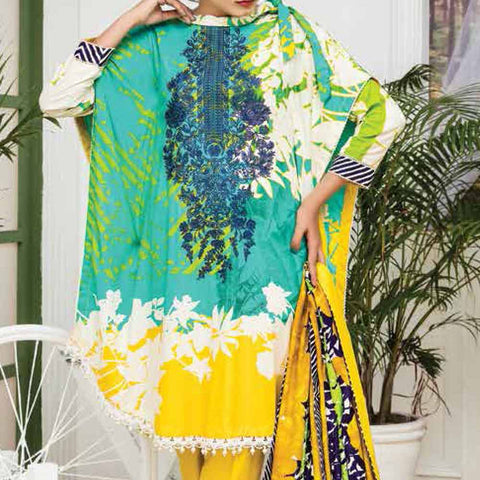 Ayesha Alishba Embroidered Linen 3 Piece Un-Stitched Suit - 026