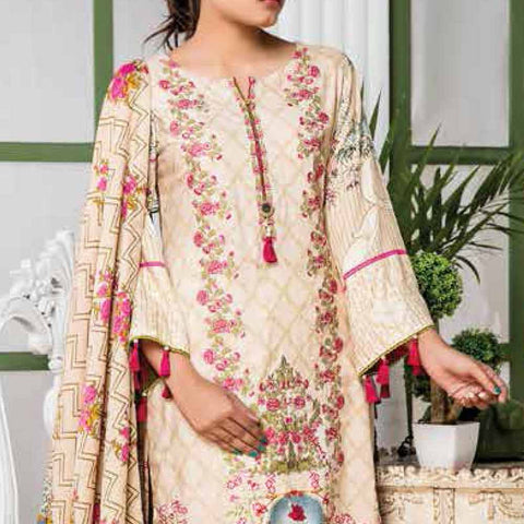 Ayesha Alishba Embroidered Linen 3 Piece Un-Stitched Suit - 035 B