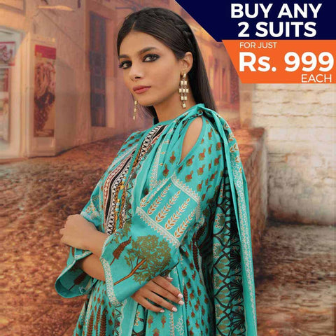 Rangreza Printed Cotton 3 Piece Un-Stitched Suit - 19