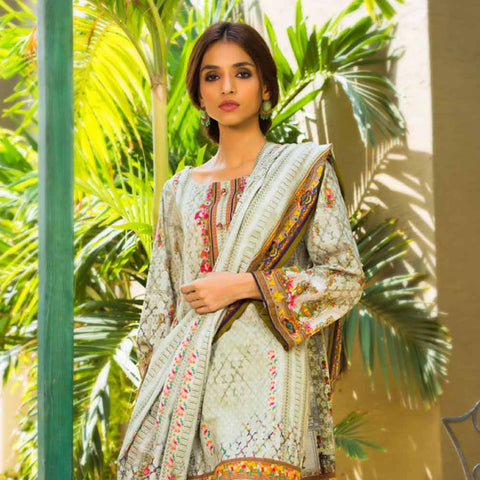 Digital Printed Khaddar 3 Piece Un-Stitched Suit - 19
