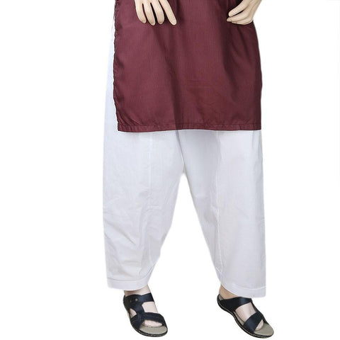 Men's 100% Cotton Shalwar - White - test-store-for-chase-value