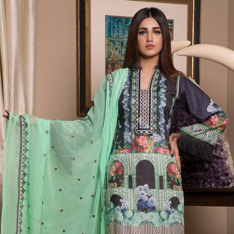 Sahil Festive Embroidered Lawn 3 Piece Un-Stitched Suit - 6A - test-store-for-chase-value
