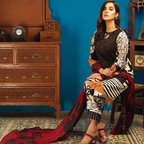 Silkoria Embroidered Lawn 3 Piece Un-Stitched Suit - 156 A - test-store-for-chase-value