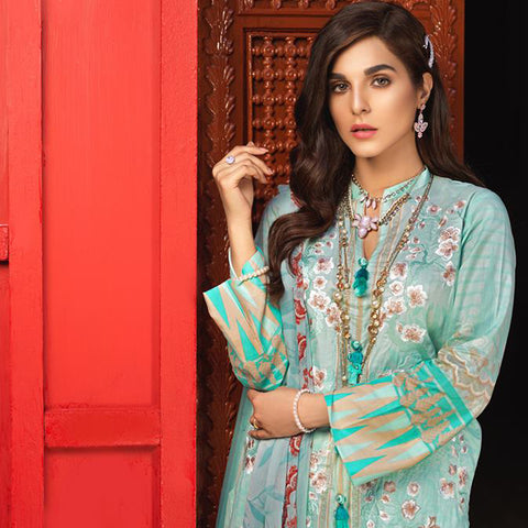 Silkoria Embroidered Lawn 3 Piece Un-Stitched Suit - 159 A - test-store-for-chase-value