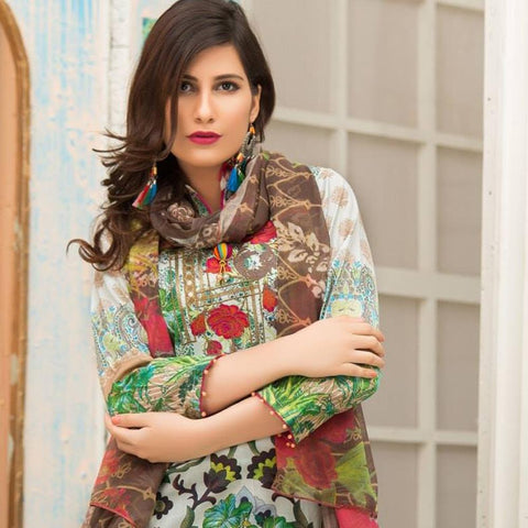 Iraar Fashion Affair Embroidered Lawn 3 Piece Un-Stitched Suit - 4 B - test-store-for-chase-value