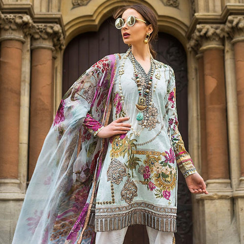 Mina Hasan Luxury Festive Embroidered Lawn Un-Stitched Suit - 2 B - test-store-for-chase-value