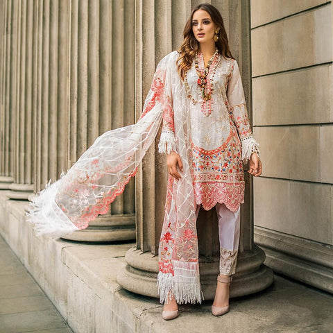 Mina Hasan Luxury Festive Embroidered Lawn Un-Stitched Suit - 4 A - test-store-for-chase-value
