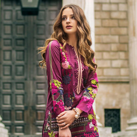 Mina Hasan Luxury Festive Embroidered Lawn Un-Stitched Suit - 6 A - test-store-for-chase-value