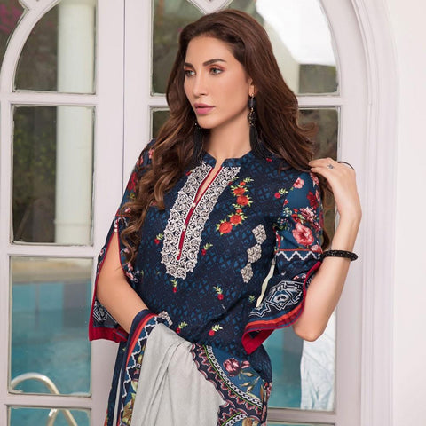 Rangreza Designer Embroidered Festive Lawn 3 Piece Un-Stitched Suit - 1 A - test-store-for-chase-value